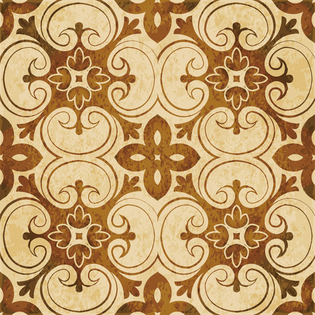 Retro brown watercolor texture grunge seamless background botanic vintage spiral cross curve flower Illustration