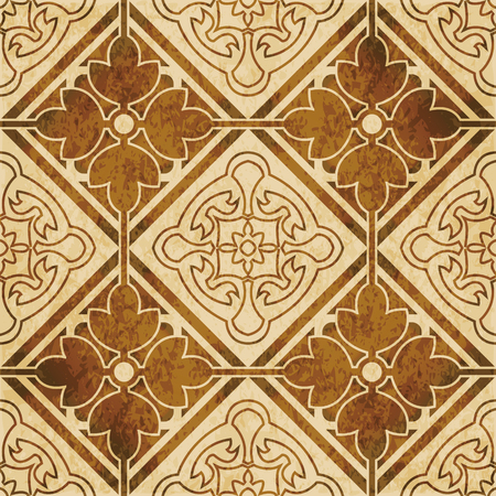 worn out: Retro brown watercolor texture grunge seamless background square check cross round flower frame