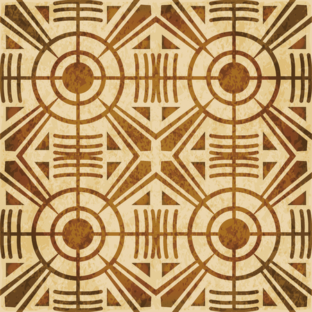 worn out: Retro brown watercolor texture grunge seamless background round cross geometry kaleidoscope