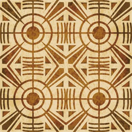 Retro brown watercolor texture grunge seamless background round cross geometry kaleidoscope