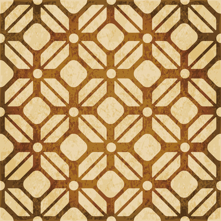 worn out: Retro brown watercolor texture grunge seamless background polygon check geometry cross frame Illustration