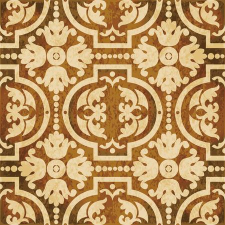 Retro brown watercolor texture grunge seamless background spiral round flower Illustration