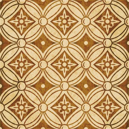 Retro brown watercolor texture grunge seamless background round cross flower