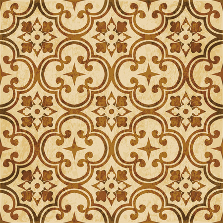 worn out: Retro brown watercolor texture grunge seamless background round curve cross flower kaleidoscope