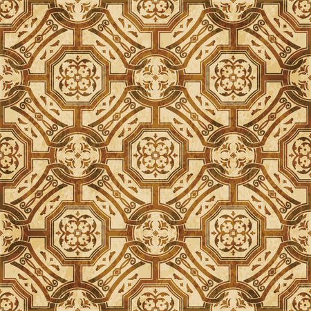 Retro brown watercolor texture grunge seamless background round square cross chain flower