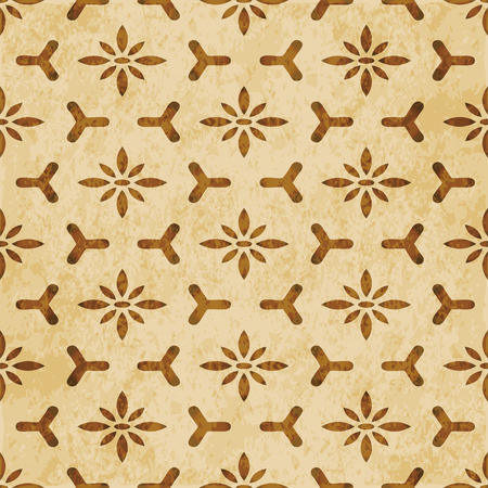 Retro brown watercolor texture grunge seamless background polygon cross flower frame Stock Illustratie