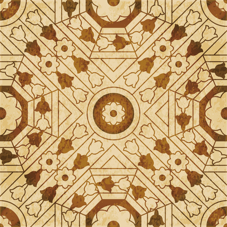 grime: Retro brown watercolor texture grunge seamless background square cross octagon flower geometry Illustration