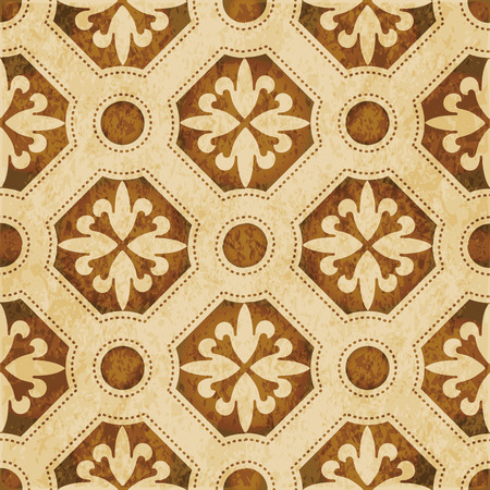 worn out: Retro brown watercolor texture grunge seamless background round polygon dot line flower