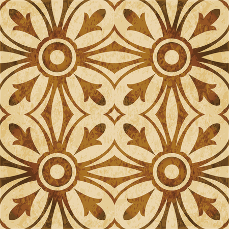 worn out: Retro brown watercolor texture grunge seamless background round cross curve kaleidoscope