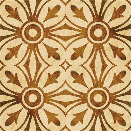 Retro brown watercolor texture grunge seamless background round cross curve kaleidoscope