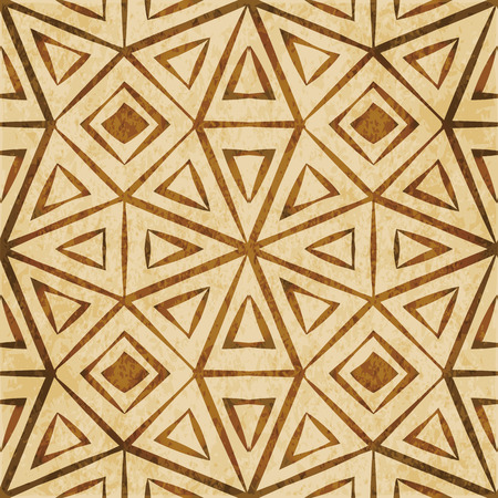 Retro brown watercolor texture grunge seamless background triangle check cross octagon geometry frame
