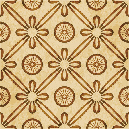 worn out: Retro brown watercolor texture grunge seamless background round cross ribbon flower Illustration