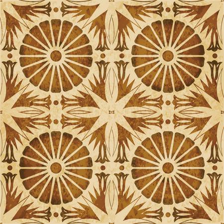 Retro brown watercolor texture grunge seamless background round flower point leaf cross Illustration