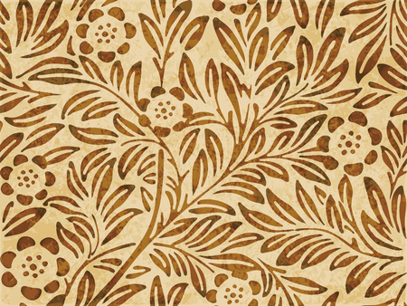 worn out: Retro brown watercolor texture grunge seamless background botanic flower leaf plant Illustration