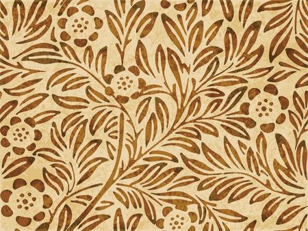 Retro brown watercolor texture grunge seamless background botanic flower leaf plant Illustration