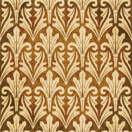 worn out: Retro brown watercolor texture grunge seamless background botanic garden leaf cross Illustration