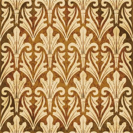 Retro brown watercolor texture grunge seamless background botanic garden leaf cross Illustration