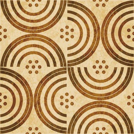 worn out: Retro brown watercolor texture grunge seamless background semi round cross line dot Illustration
