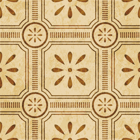worn out: Retro brown watercolor texture grunge seamless background round square cross line frame flower