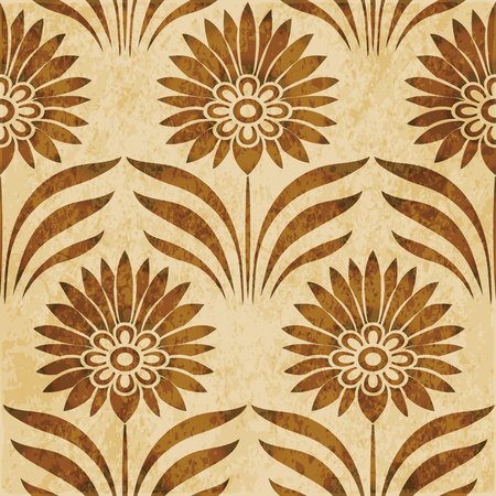 worn out: Retro brown watercolor texture grunge seamless background botanic point leaf flower