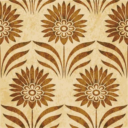 Retro brown watercolor texture grunge seamless background botanic point leaf flower