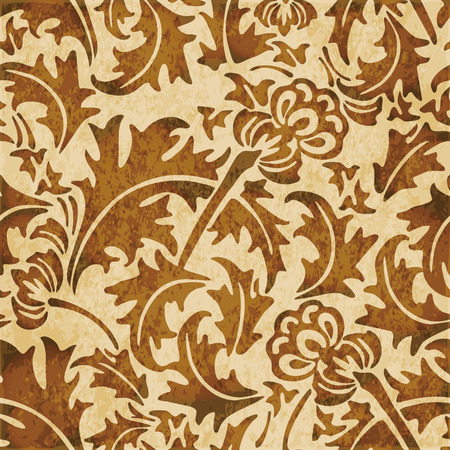 Retro brown watercolor texture grunge seamless background spiral leaf flower plant
