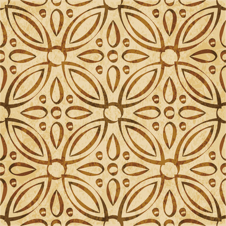 worn out: Retro brown watercolor texture grunge seamless background round cross flower kaleidoscope Illustration