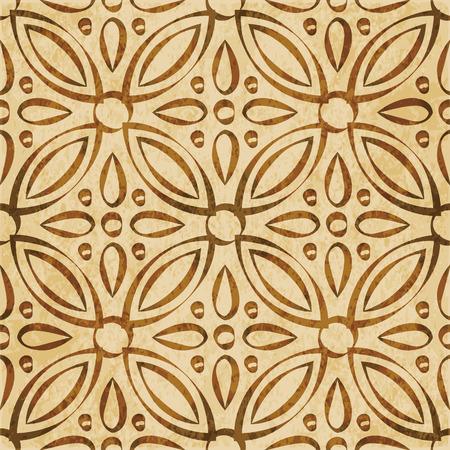 Retro brown watercolor texture grunge seamless background round cross flower kaleidoscope Illustration
