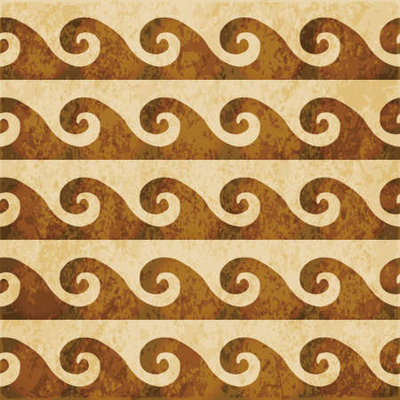 Retro brown watercolor texture grunge seamless background curve spiral wave geometry Stock Illustratie