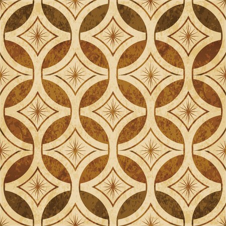 Retro brown watercolor texture grunge seamless background round cross frame star flower Illustration