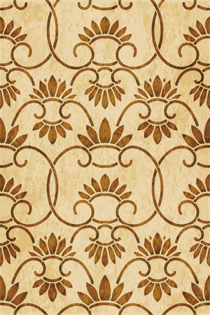 Retro brown watercolor texture grunge seamless background China spiral curve cross vine flower Stock Illustratie
