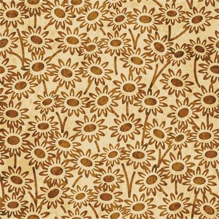 Retro brown watercolor texture grunge seamless background garden daisy flower Stock Vector - 88750710