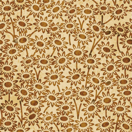 Retro brown watercolor texture grunge seamless background garden daisy flower