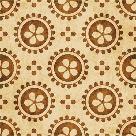 Retro brown watercolor texture grunge seamless background round dot cross flower
