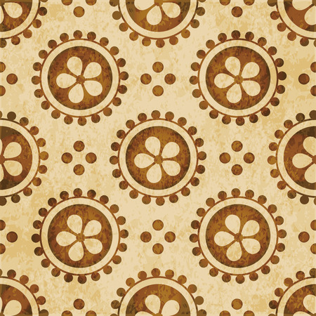 Retro brown watercolor texture grunge seamless background round dot cross flower