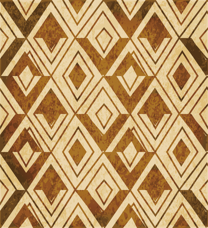 worn out: Retro brown watercolor texture grunge seamless background triangle rhomb check geometry cross Illustration
