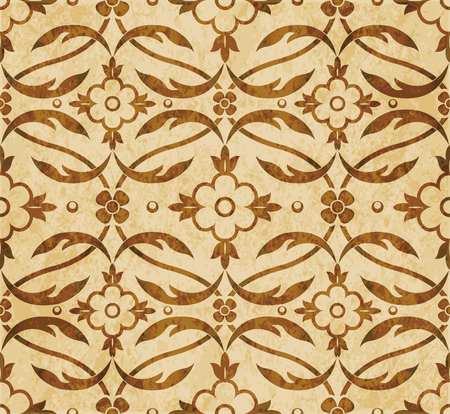 worn out: Retro brown watercolor texture grunge seamless background curve cross leaf vine flower