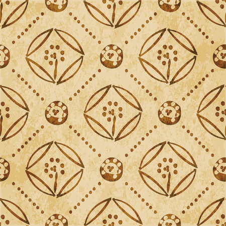 worn out: Retro brown watercolor texture grunge seamless background round cross dot line flower Illustration