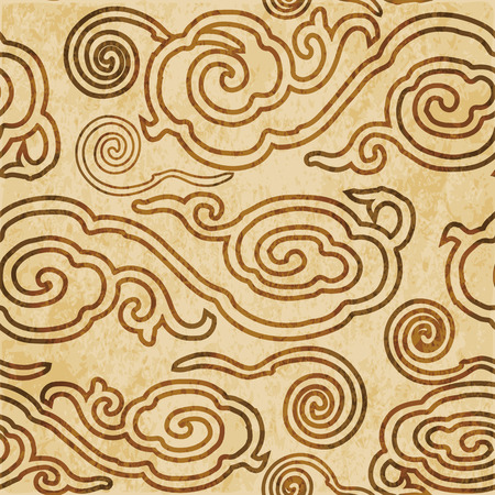 Retro marrón acuarela textura grunge fondo transparente oriental chino espiral redondo nube Foto de archivo - 88750838