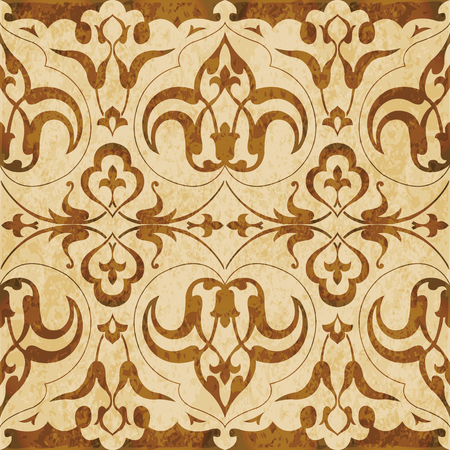 worn out: Retro brown watercolor texture grunge seamless background curve spiral flower kaleidoscope