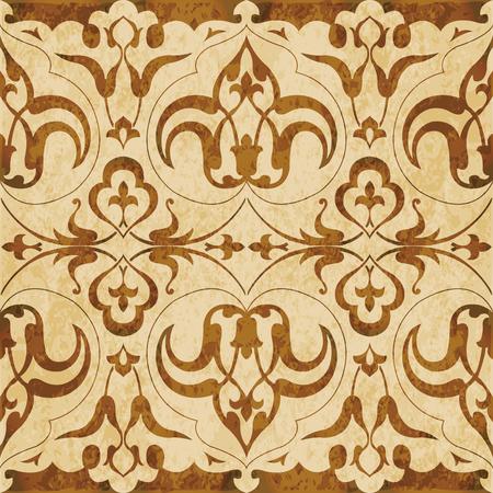 Retro brown watercolor texture grunge seamless background curve spiral flower kaleidoscope