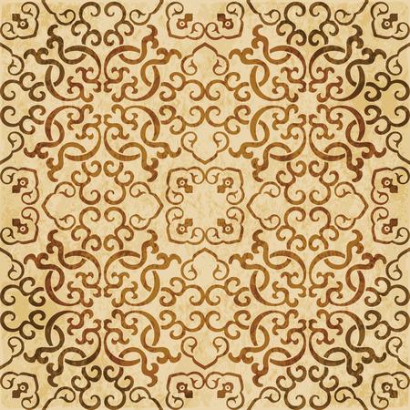 Retro brown watercolor texture grunge seamless background spiral cross chain kaleidoscope Stock Vector - 88751004