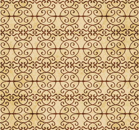 Retro brown watercolor texture grunge seamless background round spiral cross frame Stock Vector - 88751006