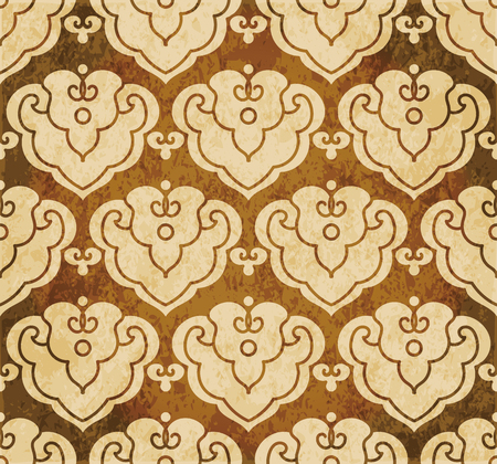 Retro brown watercolor texture grunge seamless background Japanese curve spiral cross frame Stock Vector - 88751007