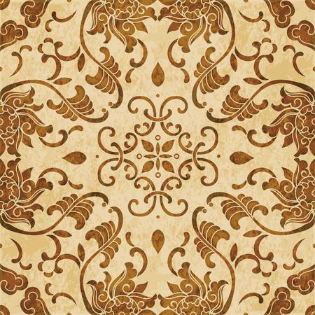 Retro brown watercolor texture grunge seamless background Asian botanic spiral vine leaf flower Stock Vector - 88751011