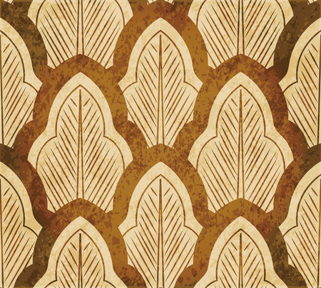 worn out: Retro brown watercolor texture grunge seamless background oriental curve cross leaf chintz