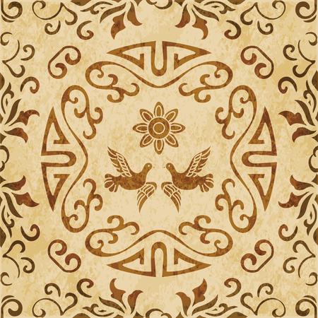Rétro brun spirale de texture aquarelle grunge sans soudure Fond rond spirale de fleur pigeon Vecteurs