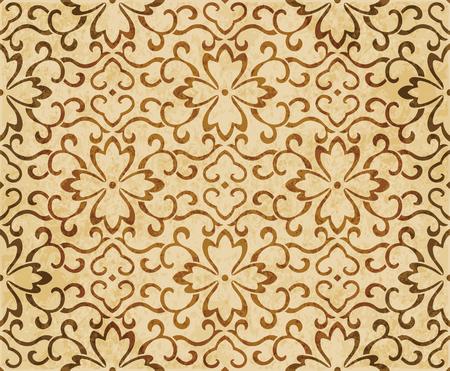 Retro brown watercolor texture grunge seamless background spiral curve vine flower Stock Vector - 88751430