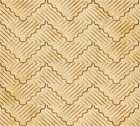 Retro brown watercolor texture grunge seamless background oriental curve wave cross geometry line