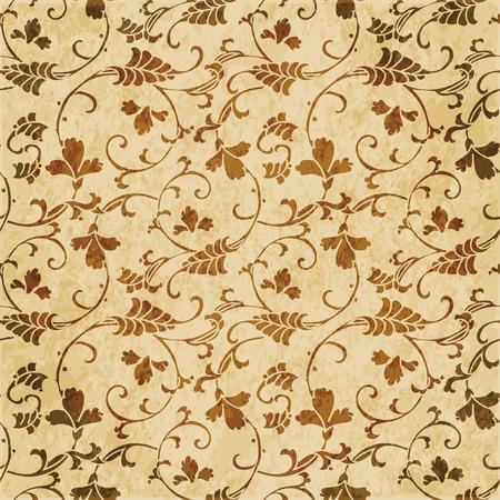 Retro brown watercolor texture grunge seamless background curve spiral cross vine flower Stock Vector - 88751556